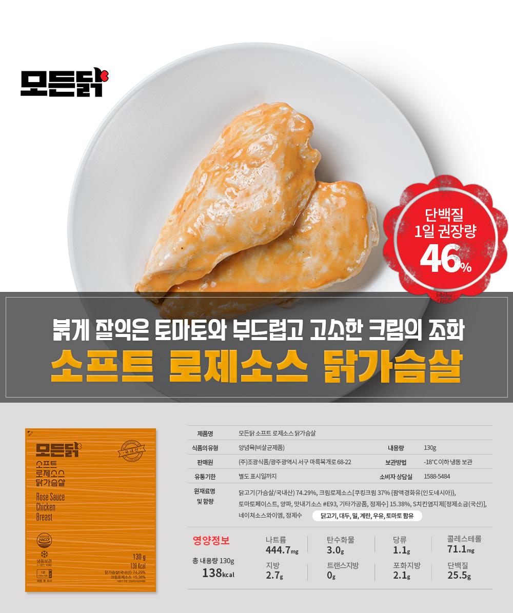 붉게 잘익은 토마토와 부드럽고 고소한 크림의 조화 소프트 로제 닭가슴살, 영양정보 안내.